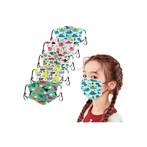 ❤ 5 Mascherine in tessuto per bambini, fantasie varie, taglia unica