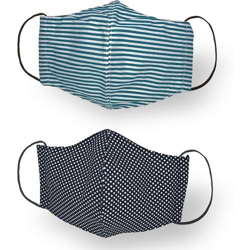 2 Mascherine bambini cotone, doppio strato, elastici regolabili
