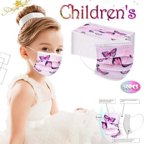 50 Mascherine cotone, chirurgiche, per bambini, Stampa Farfalla Rosa, usa e getta