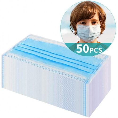 50 mascherina chirurgiche usa e getta per bambini, 6-14 anni