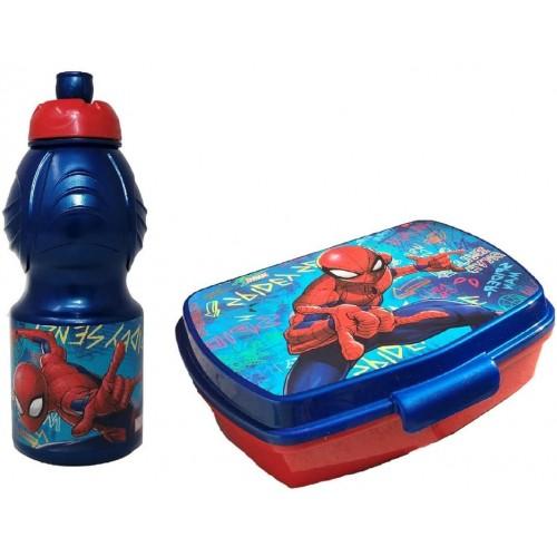 Set Pranzo Spiderman con borraccia e portamerenda