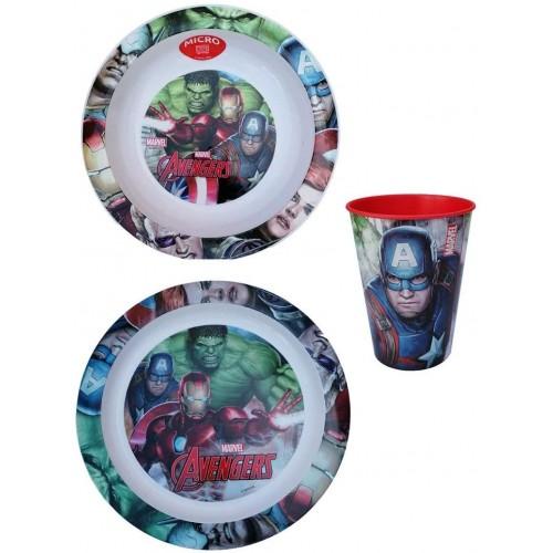 Set Pappa Avengers Marvel -  2 Piatti e 1 Bicchiere