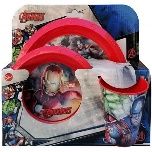 Set Pranzo Avengers - Marvel -  con piatto piano, piatto fondo e bicchiere