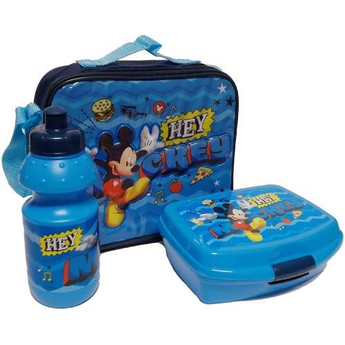 Lunch Box Topolino Disney, 3 pezzi, set pranzo
