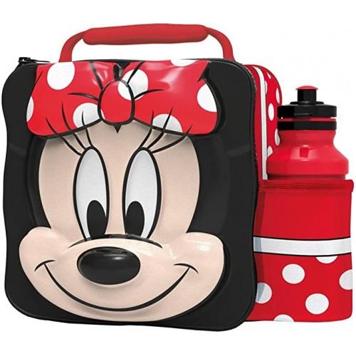 Borsa termica porta pranzo Minnie Mouse, con borraccia