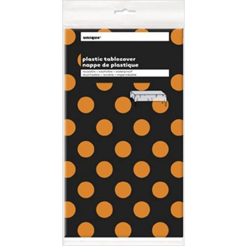 Tovaglia Halloween nera a pois arancioni, in plastica, per feste