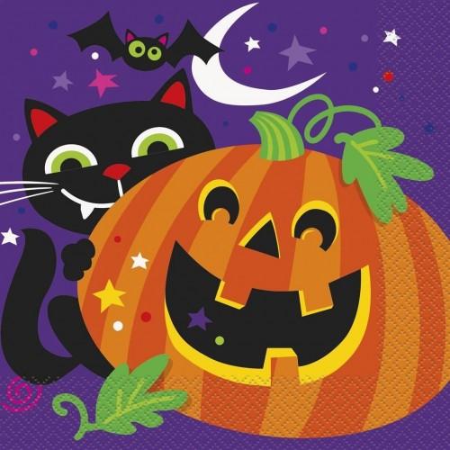 16 Tovaglioli Happy Halloween, per allestimenti