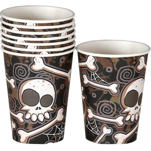 8 Bicchieri Halloween Teschi e Ossa, in cartoncino