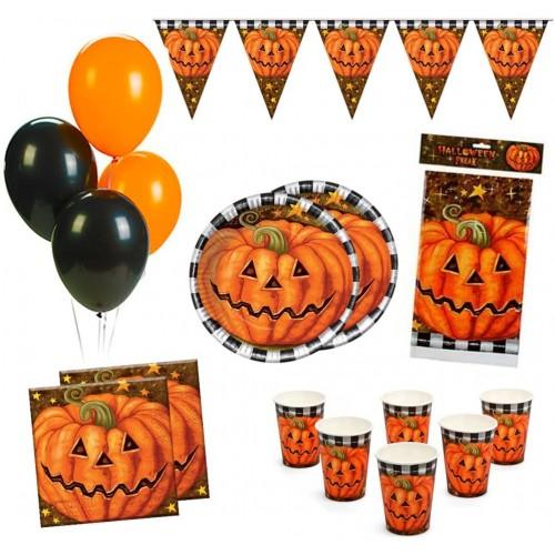 Kit 12 persone party Halloween, tema zucca, coordinato tavola
