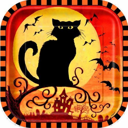 10 Piatti Halloween Gatto nero, forma quadrata, in cartoncino