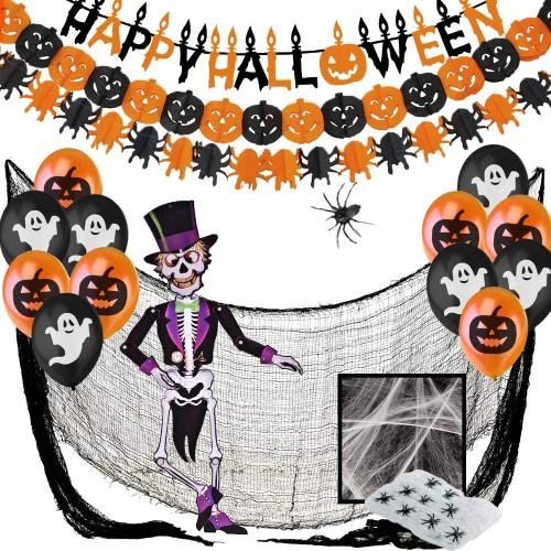 Kit festa Halloween, 28 articoli per allestimenti terrificanti