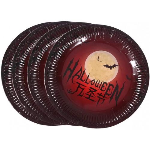 40 Piatti Halloween pipistrelli al chiaro di luna