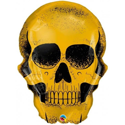 Palloncino Teschio dorato Halloween , supershape per feste