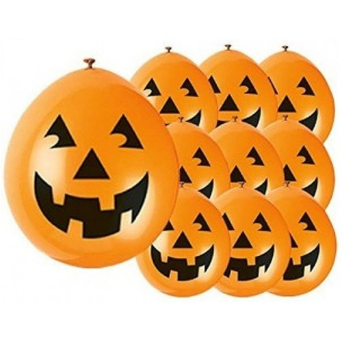 10 Palloncini Zucca Sorridente Halloween in lattice