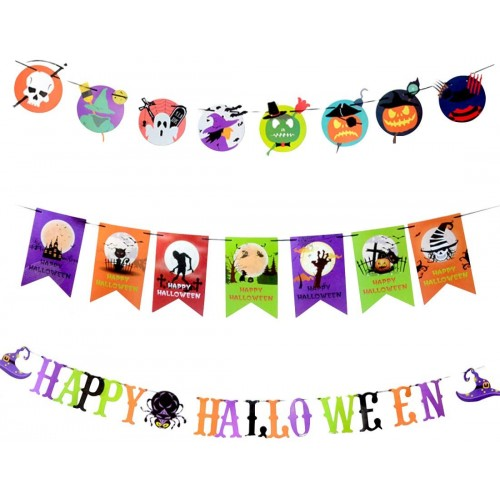 3 Festoni Halloween grafiche assortite