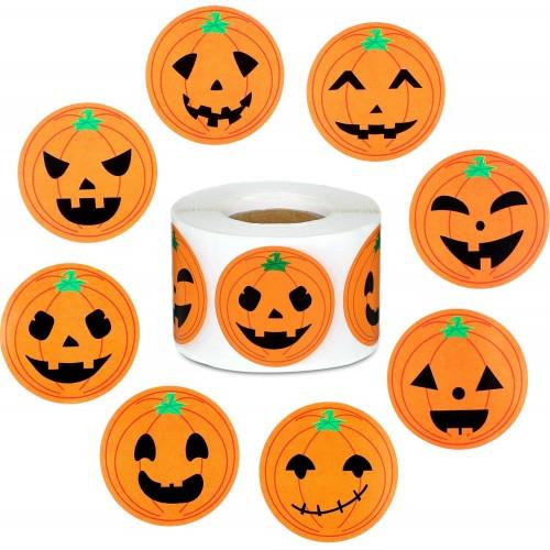 500 Adesivi forma Zucca per Halloween, 8 grafiche
