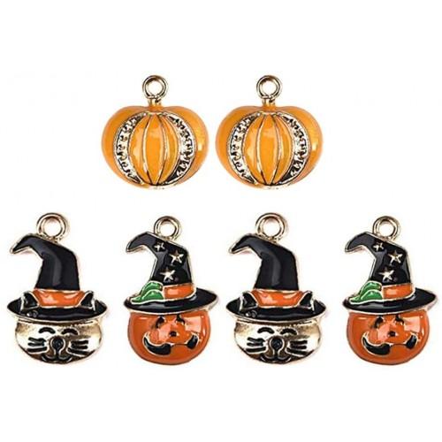 Set 6 ciondoli Halloween forma zucca, portachiavi