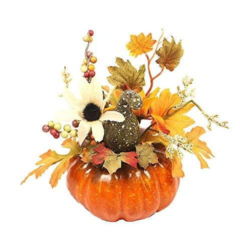 3 Zucche Artificiali con Fiori, decorazioni per Halloween