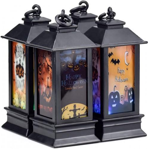4 Lampade notturne a LED, motivo zucca Halloween