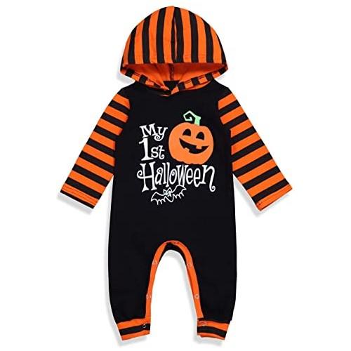 Tuta bambino  Zucca Halloween con cappuccio, per neonati