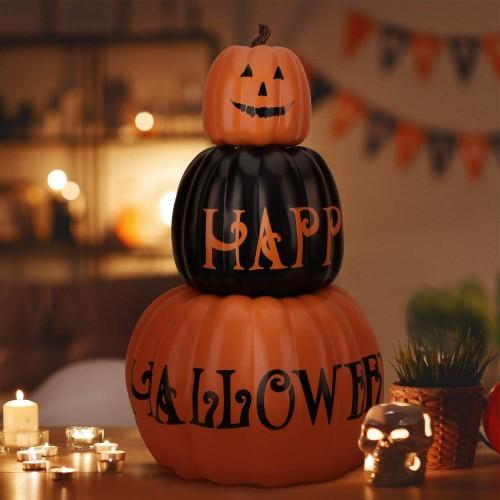 Decorazione Halloween 3 zucche, centrotavola 3D