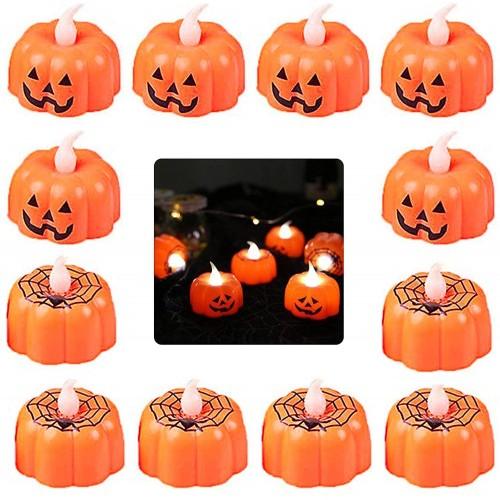 Set 12 candeline zucca Halloween 3D a led