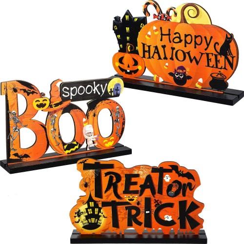 3 centrotavola Happy Halloween in legno