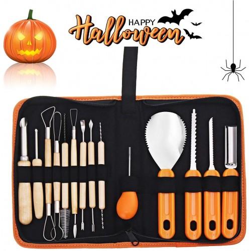 Set da intaglio per Zucca di Halloween, 14 pezzi con borsa
