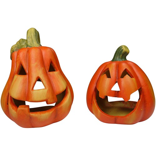 2 Portacandele zucca di Halloween in vetroresina, set decorazioni