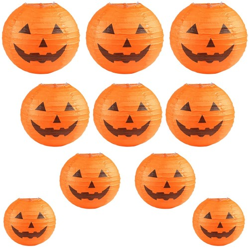 Set 10 lanterne di carta Zucca di Halloween, varie misure