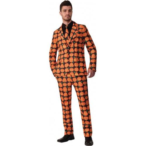 Costume Zucca di Halloween. giacca e pantaloni uomo