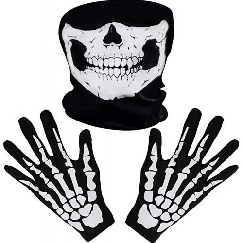 Set guanti e maschera da teschio per Halloween