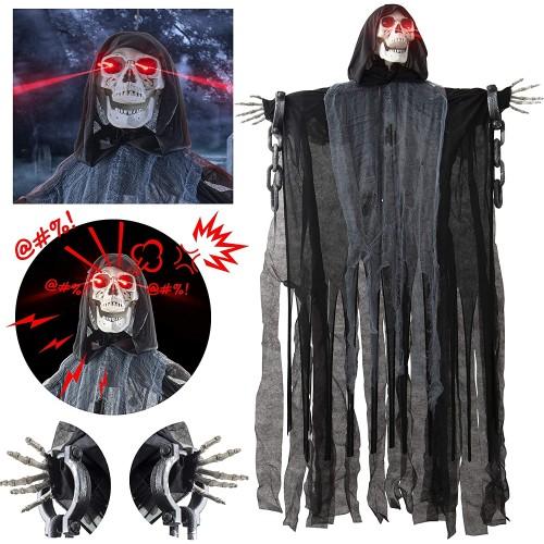 Manichino teschio Halloween, con mantello nero, da appendere