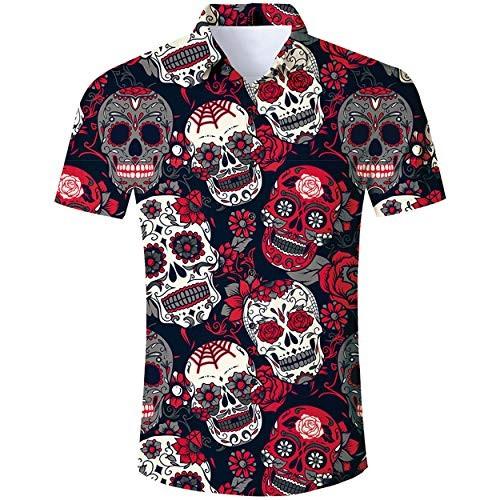 Camicia uomo con teschi - Skull motivo tropicale
