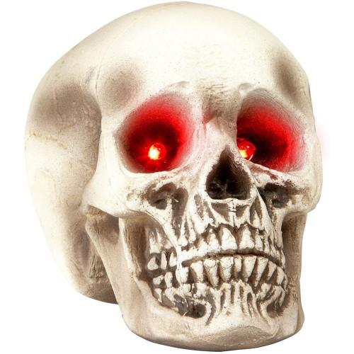 Teschio con occhi luminosi , in resina, decorazione per Halloween