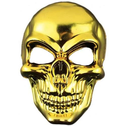 Maschera teschio Halloween dorata, con laccio, per travestimenti