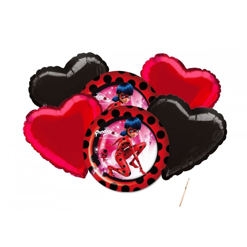 Bouquet di palloncini a cuori di Lady Bug