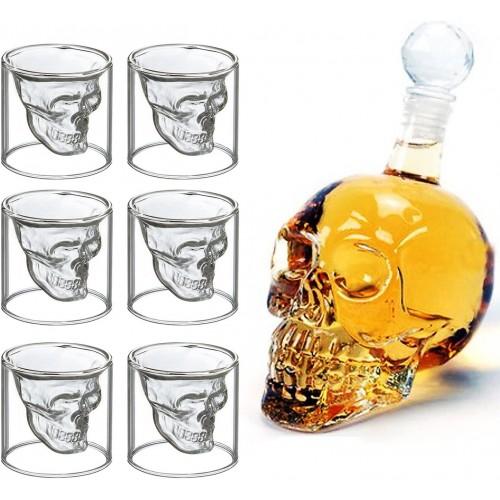 Bottiglia di vetro a Forma di Teschio +  6 bicchierini
