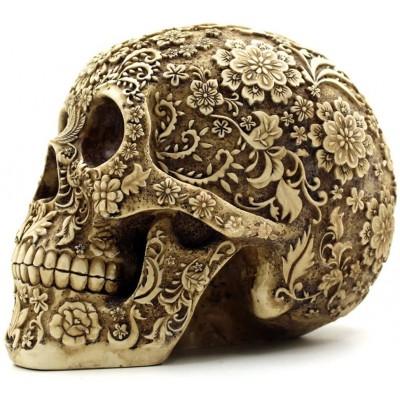 Teschi in resina, cranio umano con decorazioni floreali, Halloween
