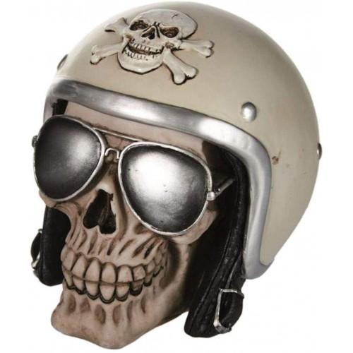 Salvadanaio Teschio con casco e occhiali da sole