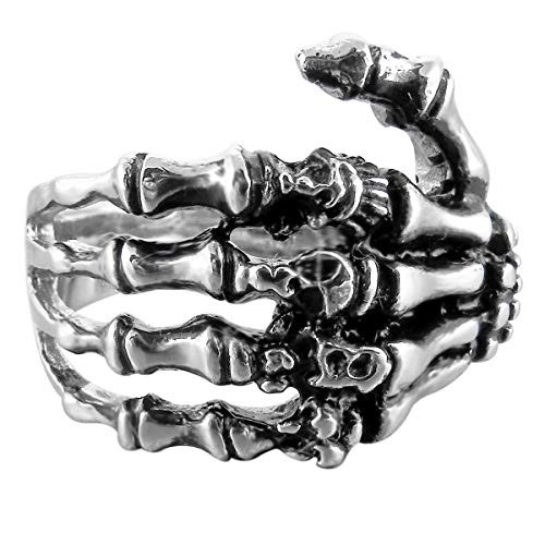 Anello uomo forma ossa di mano in acciaio inossidabile