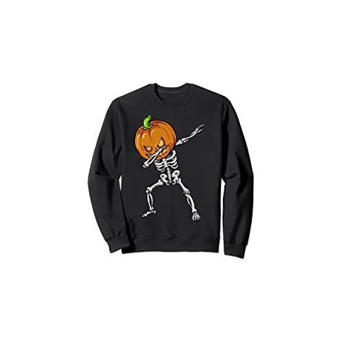 Felpa con scheletro e zucca di Halloween, idea regalo