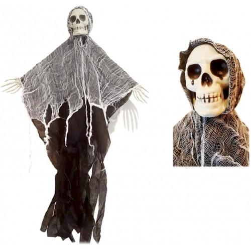 Fantoccio Scheletro Fantasma di Halloween sospeso, con effetti luminosi