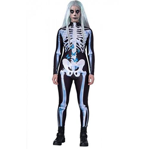 Costume donna Zipper Scheletro Halloween, vari colori