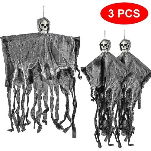 Set 3 scheletri da 70 cm per Halloween, decorazioni terrificanti