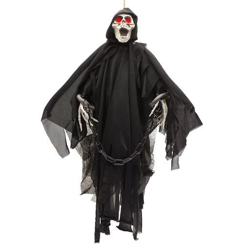 Scheletro Fantasma animato con occhi rossi a Led