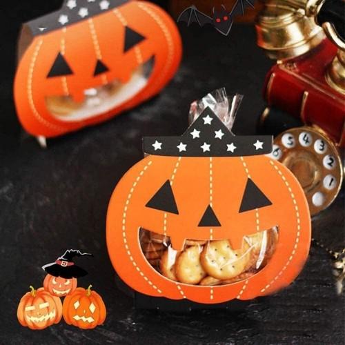 24 sacchettini con scatola di Halloween tema zucca, per regalini e gadget