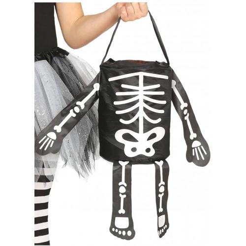 Cestino di Halloween forma scheletro da 20 cm, colore nero
