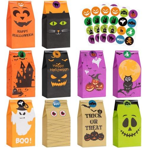 50 sacchetti di plastica per Halloween, con adesivi