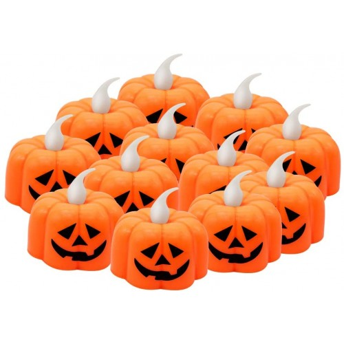 12 candele forma zucca di Halloween, con luci a led